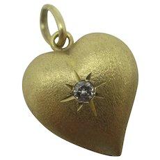 Diamond to 18k Gold Witches Heart Pendant Vintage c1980