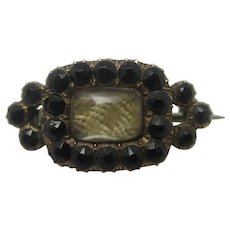Whitby Jet Mourning Hair 9k Gold Brooch Pin Antique Georgian c1820