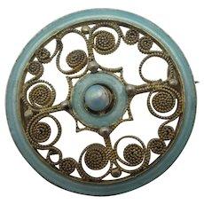 Marius Hammer Enamel Sterling Silver Brooch Pin Vintage Art Deco c1930