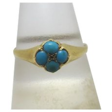 Turquoise Daisy 18k Gold Ring Antique Victorian English 1866