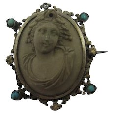 Lava Cameo Sterling Silver Austro Hungarian Brooch Pin Antique Victorian c1840