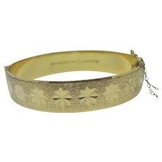 Star Design 9k Rolled Gold Bangle Bracelet Vintage c1950