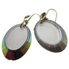 Iridescent Glass Drops 9k Gold Pendant Earrings Vintage Art Deco c1920