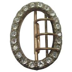 Faux Diamond Paste Gilt Metal Nickel Plated Steel Buckle Antique Victorian c1840