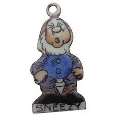 Sneezy Enamel 7 Dwarfs Pendant Charm Vintage c1950