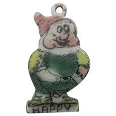 Happy Enamel 7 Dwarfs Pendant Charm Vintage c1950