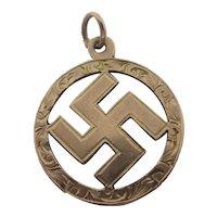 9k Rose Gold Cross Pendant Fob Antique Victorian c1890
