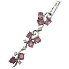 Pink Tourmaline Diamond 18k White Gold Dangling Pendant Necklace Vintage
