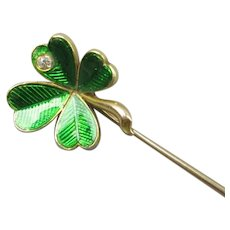 Guilloche Enamel 18k Gold Lucky Shamrock Stick Pin Antique Victorian c1890
