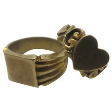 Heart Signet Ring 9k Gold Pendant Charm English Vintage 1980