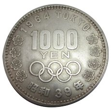 Japanese 1964 1000 Yen Olympics Sterling Silver Coin Vintage