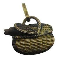 Fishing Creel Pendant Charm 18k Gold Fix Antique Edwardian c1910
