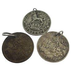 3 Silver Coin Pendant Charm Vintage Art Deco