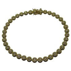 White Sapphire 18k Gold Tennis Bracelet Vintage c1980