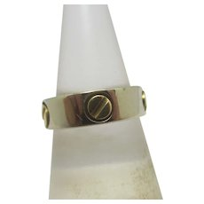 Millennium Screw Bolt Head 18k Gold Ring Vintage English 2000