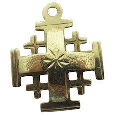 Jerusalem Cross 14k Gold Pendant Vintage Art Deco c1920