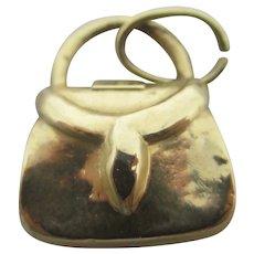 Hand Bag Purse 14k Gold Pendant Charm Vintage c1970
