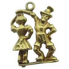Rare Moving Dancing Couple 14k Gold Pendant Charm Vintage c1970