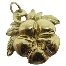 Pansy Flower 14k Gold Pendant Charm Vintage Art Deco c1920