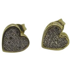 Heart 9k Gold Stud Earrings Faux Diamond Vintage c1980