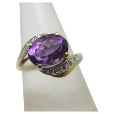 Amethyst & Diamond 9k Gold Ring Vintage English 1998