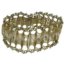 Filigree Silver Wide Bracelet Vintage Art Deco c1920