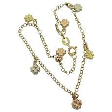 3 Colour Lucky 4 Leaf Clover 18k Gold Charm Bracelet Vintage c1980