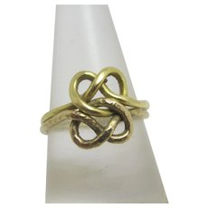 Double Celtic Knot 9k Gold Ring Vintage 1979
