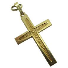 9k Gold Cross Pendant Vintage c1980