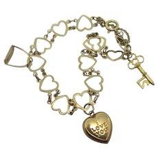 Heart Charm Bracelet Riding Stirup 21 Key 9k Gold Vintage c1960
