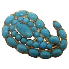 Turquoise in 9k Gold Brooch Pin Vintage Art Deco c1920