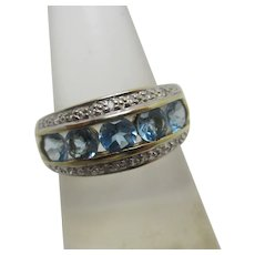 Aquamarine 9k Gold Ring Millennium Vintage 2000