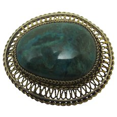 Turquoise in Chinese Sterling Silver Brooch Pin Vintage c1920