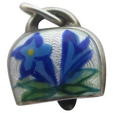 Edelweiss Cow Bell Enamel Sterling Silver Pendant Charm Vintage 1950