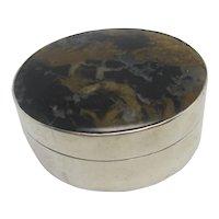 Georgian Sterling Silver Trinket Pill  Box Agate Lid Antique English 1801