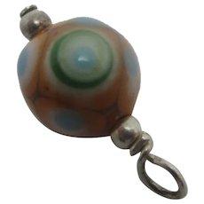 Glass Sterling Silver Ojime Bead Pendant Charm Vintage Art Deco c1920