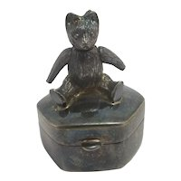 Articulated Teddy Bear Sterling Silver Pill Trinket Tooth Box Vintage English