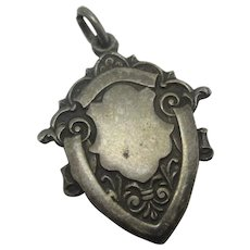 Shield Sterling Silver Watch Fob Pendant Vintage 1957