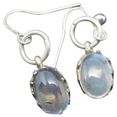 Cabochon Moonstone Sterling Silver Dangling Earrings Antique Victorian c1890