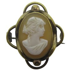 Shell Cameo Lady in side Profile Pinchbeck Brooch Pin Antique Georgian c1830