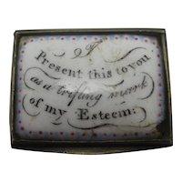 Motto Bilston Enamel Snuff Box Antique Georgian c1820