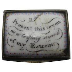 Motto Bilston Enamel Snuff Box Antique Georgian c1820