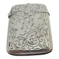 Fern Leaf Sterling Silver Vesta Case English Chester Antique Victorian 1898