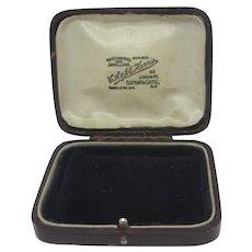 Burgundy Leatherette Jewellery Brooch Box Vintage Art Deco c1920