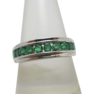 Channel Set Emerald in Sterling Silver Ring Vintage c1980