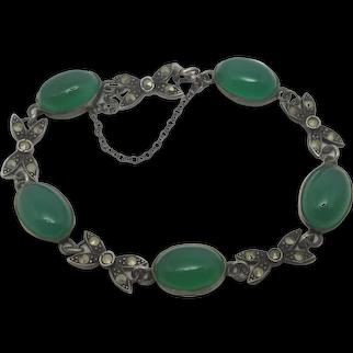 Cabochon Jadeite Sterling Silver Marcasite Bow Bracelet Vintage Art Deco c1930
