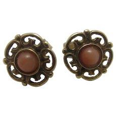 Coral in 9k Gold Stud Earrings Vintage Art Deco c1920