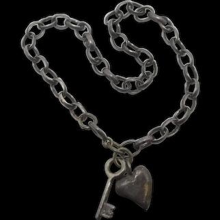 Key to your Heart Sterling Silver Charm Bracelet Vintage Art Deco c1920