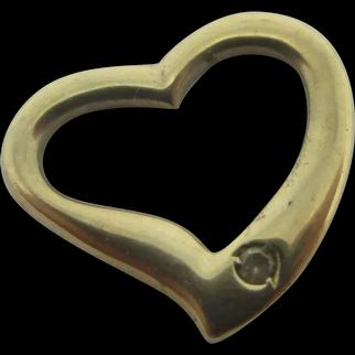 Diamond to 9k Gold Pierced Witches Heart Pendant Vintage c1980