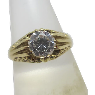 Approx 1ct Diamond Paste 9k Gold English Solitaire Ring Vintage 1984